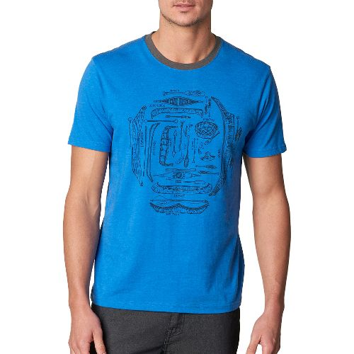 Mens prAna Canoe'N Ringer Short Sleeve Non-Technical Tops - Blue S