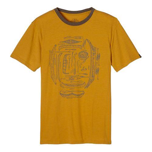 Mens prAna Canoe'N Ringer Short Sleeve Non-Technical Tops - Yellow M