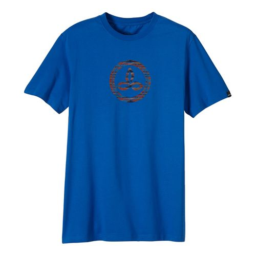 Mens prAna Classic Short Sleeve Non-Technical Tops - Blue XL
