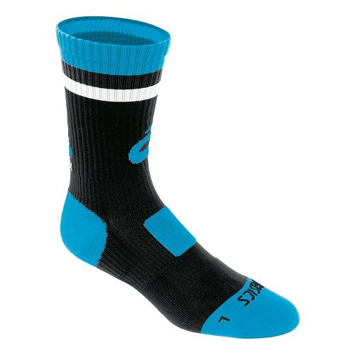 ASICS Craze Crew 3 Pack Socks - Black/Cyan Blue L