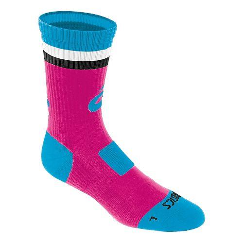 ASICS Craze Crew 3 Pack Socks - Pink Glo/Atomic Blue L