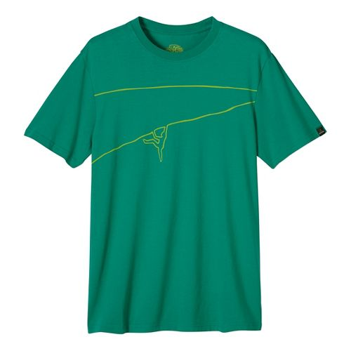 Mens prAna Climb The Line Short Sleeve Non-Technical Tops - Green XXL