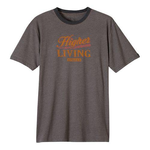 Mens prAna Higher Living Logo Ringer Short Sleeve Non-Technical Tops - Black M