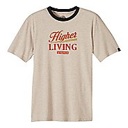 Mens prAna Higher Living Logo Ringer Short Sleeve Non-Technical Tops