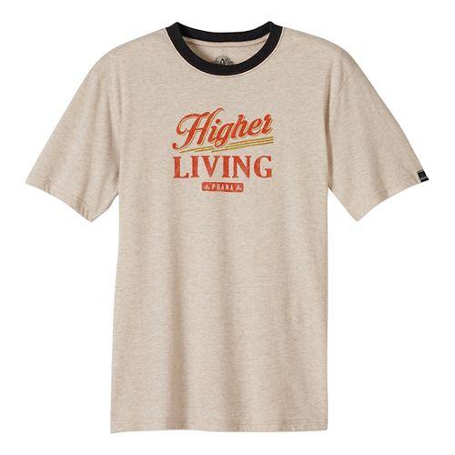 Mens prAna Higher Living Logo Ringer Short Sleeve Non-Technical Tops - Beige L