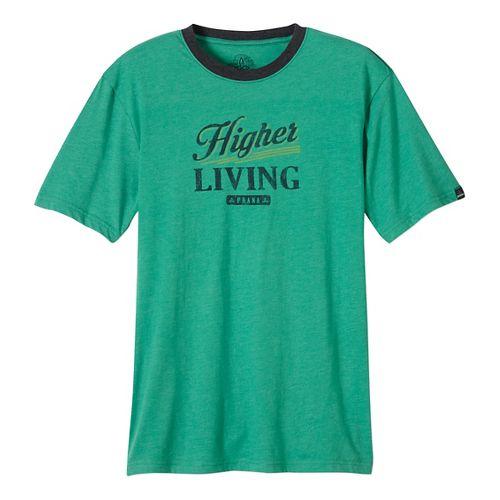 Mens prAna Higher Living Logo Ringer Short Sleeve Non-Technical Tops - Green L