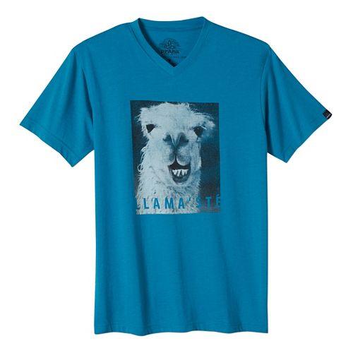 Mens prAna Llamaste Slim Short Sleeve Non-Technical Tops - Blue L