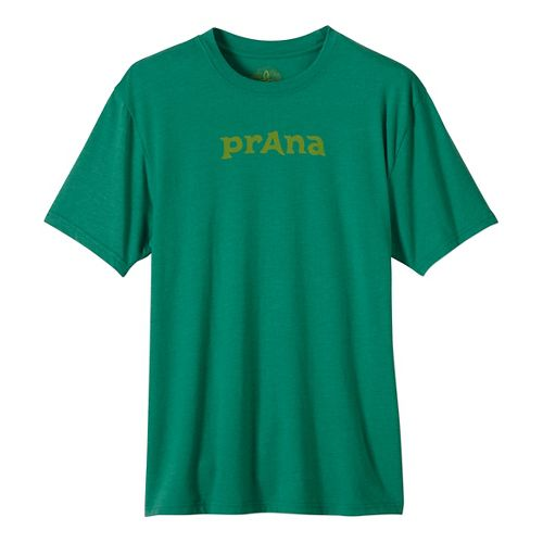 Mens prAna Logo Short Sleeve Non-Technical Tops - Green L