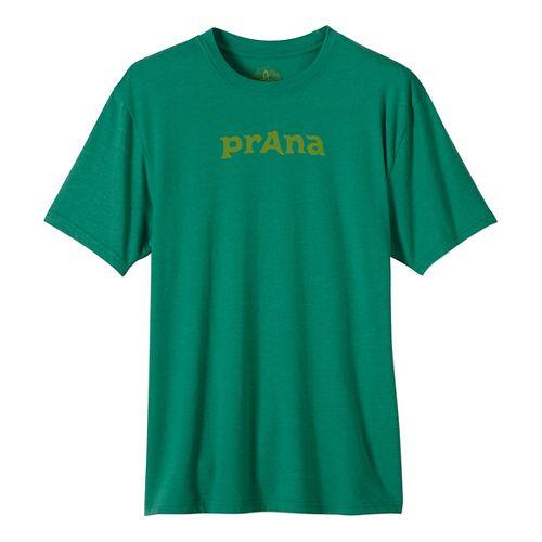 Mens prAna Logo Short Sleeve Non-Technical Tops - Green XL