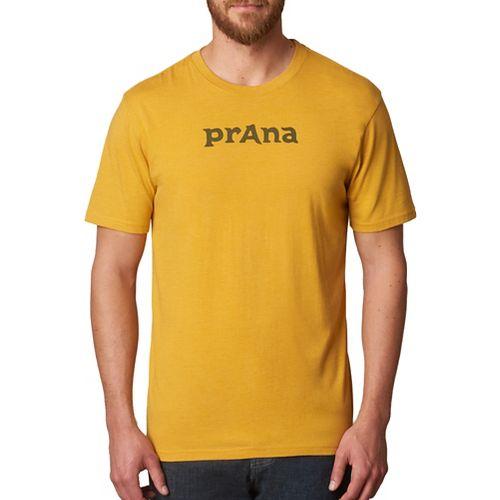 Mens prAna Logo Short Sleeve Non-Technical Tops - Yellow XXL