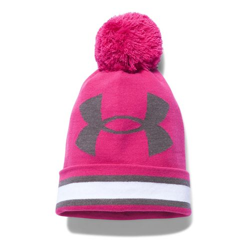 Womens Under Armour PIP Graphic Pom Beanie Headwear - Tropic Pink/White