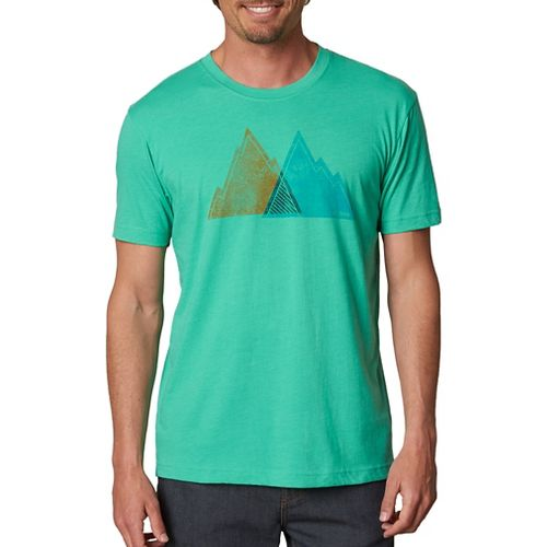 Mens prAna Mountain Slim Short Sleeve Non-Technical Tops - Green XL