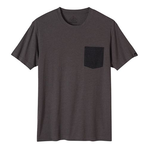 Mens prAna Pocket Short Sleeve Non-Technical Tops - Black L