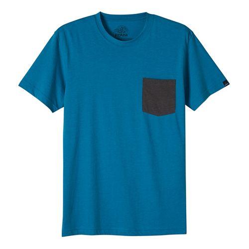 Mens prAna Pocket Short Sleeve Non-Technical Tops - Blue XL