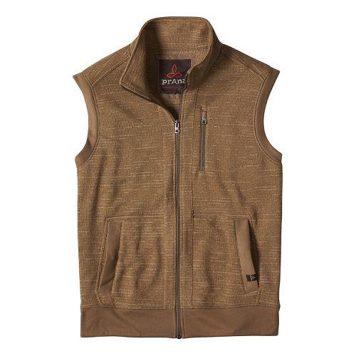 Mens prAna Performance Fleece Vests - Beige S