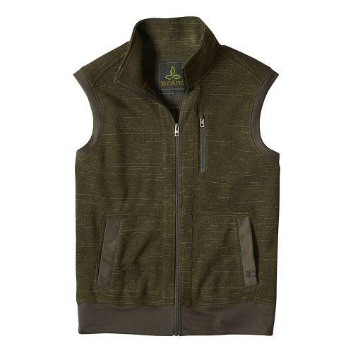 Mens prAna Performance Fleece Vests - Green L