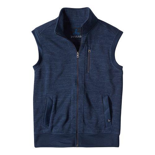 Mens prAna Performance Fleece Vests - Blue L