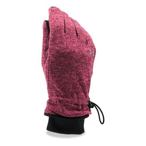 Womens Under Armour Elements Fleece Glove Handwear - Maroon/Pink Sky L