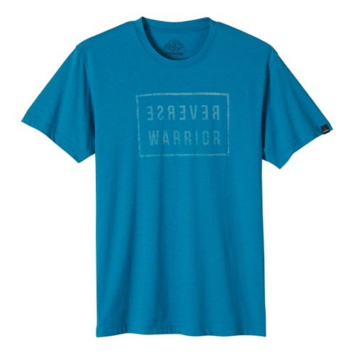 Mens prAna Reverse Warrior Slim Short Sleeve Non-Technical Tops - Blue XL