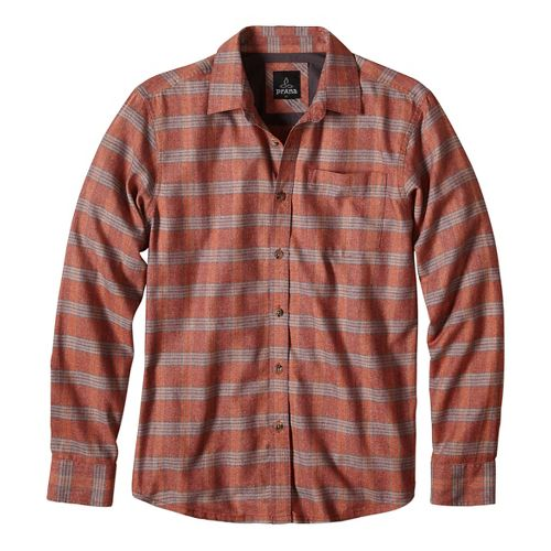 Mens prAna Alabaster Long Sleeve Non-Technical Tops - Brown/Brown M
