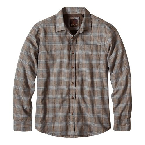 Mens prAna Alabaster Long Sleeve Non-Technical Tops - Brown L