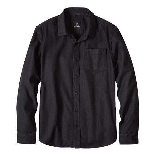 Mens prAna Brek Slim Long Sleeve Non-Technical Tops - Black XL