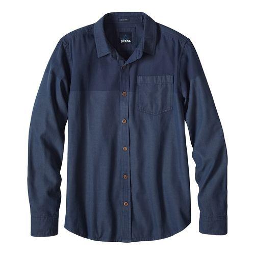 Mens prAna Brek Slim Long Sleeve Non-Technical Tops - Blue S