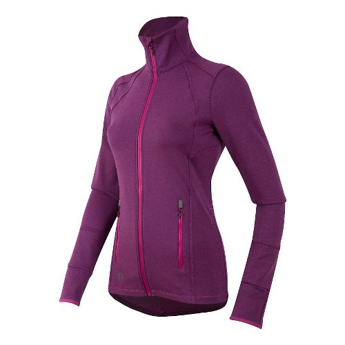 Womens Pearl Izumi Escape Thermal FZ Long Sleeve Technical Tops - Purple Wine XS