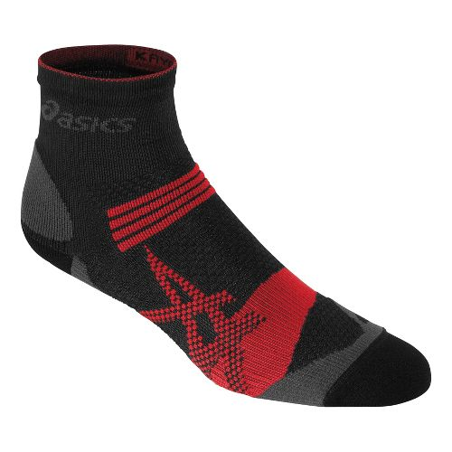 ASICS Kayano Quarter 3 Pack Socks - Black/Red Heat M