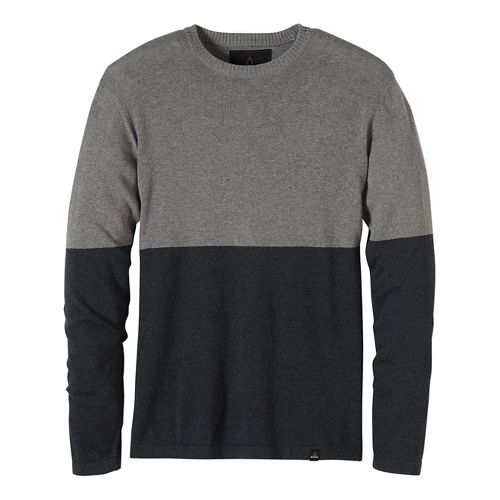 Mens prAna Color Block Sweater Crew Long Sleeve Non-Technical Tops - Black L