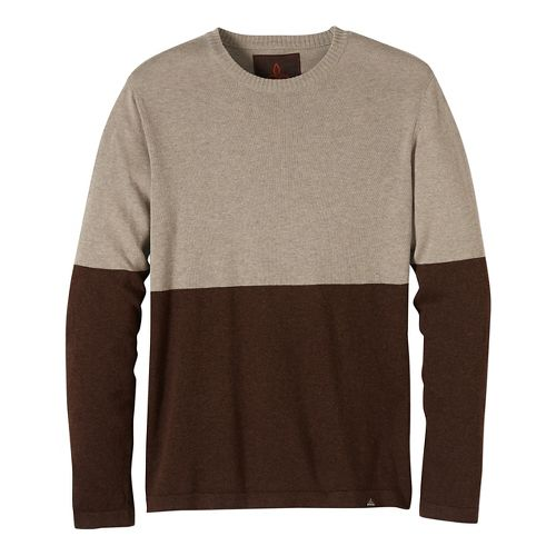 Mens prAna Color Block Sweater Crew Long Sleeve Non-Technical Tops - Brown XL