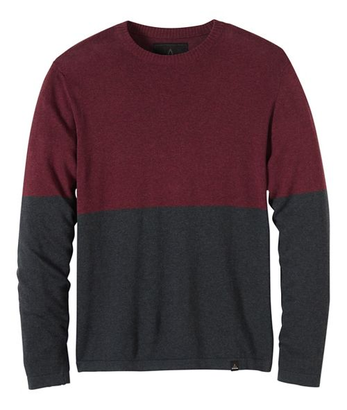 Mens prAna Color Block Sweater Crew Long Sleeve Non-Technical Tops - Brown/Brown XL