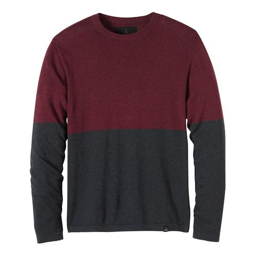 Mens prAna Color Block Sweater Crew Long Sleeve Non-Technical Tops - Brown/Brown L