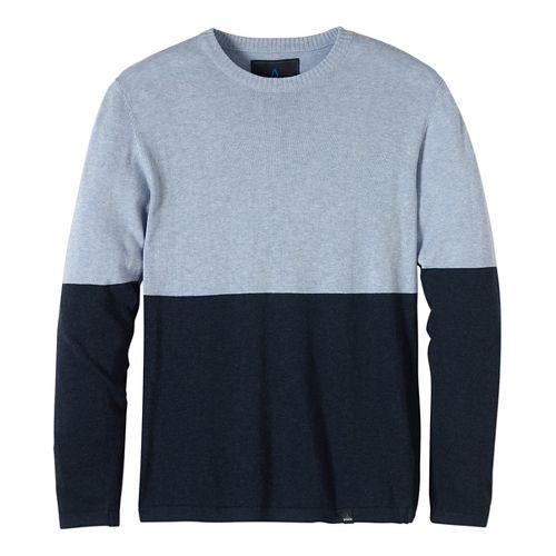 Mens prAna Color Block Sweater Crew Long Sleeve Non-Technical Tops - Blue M