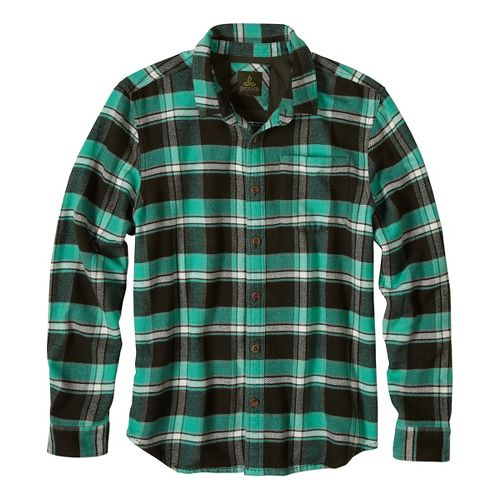 Mens prAna Channing Long Sleeve Non-Technical Tops - Green S