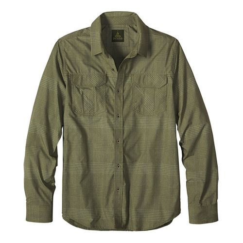 Mens prAna Citadel Long Sleeve Non-Technical Tops - Green M