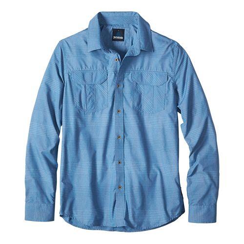 Mens prAna Citadel Long Sleeve Non-Technical Tops - Blue L