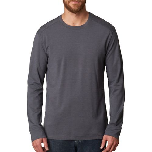 Mens prAna Decco Crew Long Sleeve Non-Technical Tops - Black S