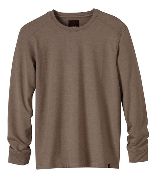 Mens prAna Decco Crew Long Sleeve Non-Technical Tops - Brown S