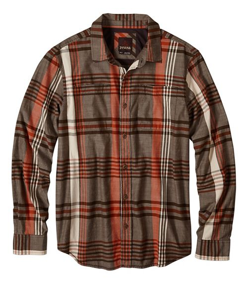Mens prAna Delaney Non-Technical Tops - Brown M