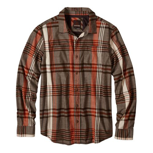Mens prAna Delaney Non-Technical Tops - Brown L