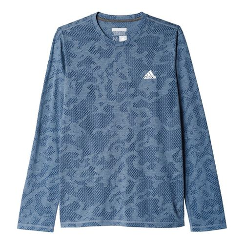 Mens Adidas Aeroknit Tee Long Sleeve Technical Tops - Mineral Blue M