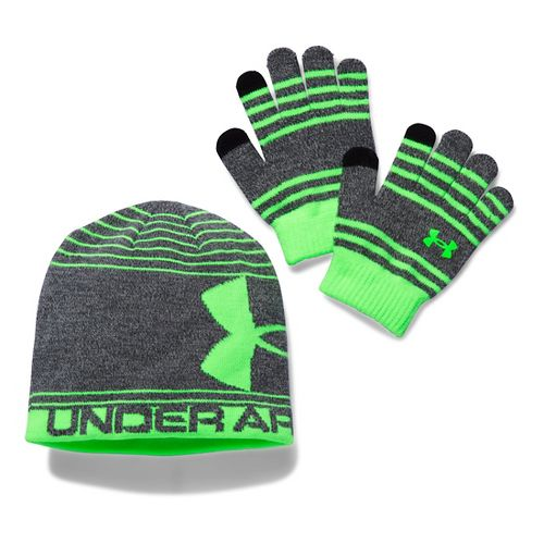 Under Armour Kids Beanie Glove Combo Headwear - Stealth Grey/Lime