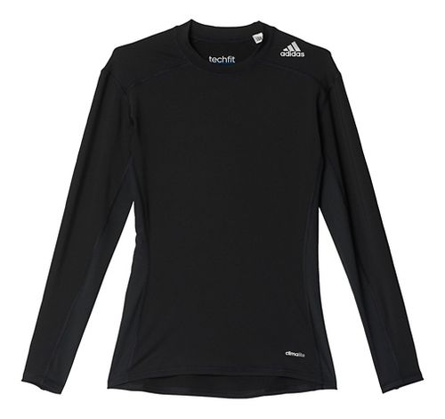 Mens Adidas Techfit LS Base Layer Long Sleeve Technical Tops - Black XL