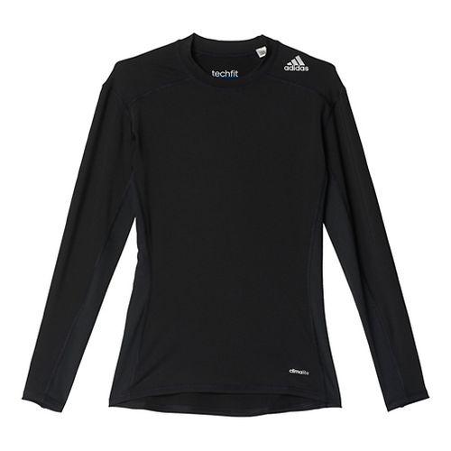 Mens Adidas Techfit Base Layer Long Sleeve Technical Tops - Black S