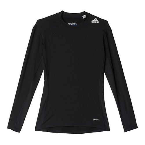 Mens Adidas Techfit LS Base Layer Long Sleeve Technical Tops - Black XXL