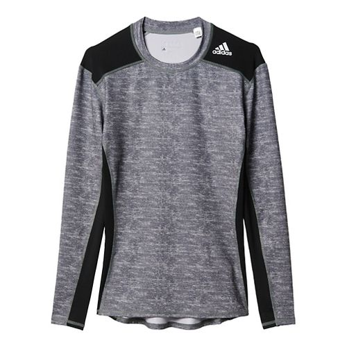 Mens Adidas Techfit Base Layer Long Sleeve Technical Tops - Core Heather/Black L