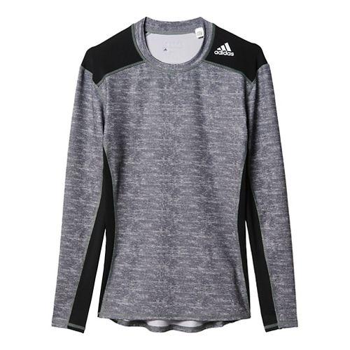 Mens Adidas Techfit Base Layer Long Sleeve Technical Tops - Core Heather/Black M