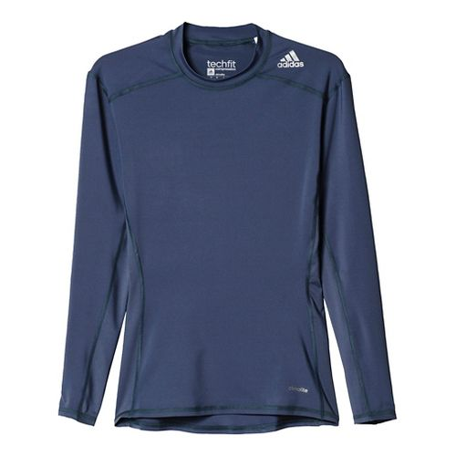 Mens Adidas Techfit LS Base Layer Long Sleeve Technical Tops - Onyx L