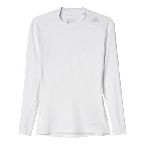 Mens Adidas Techfit LS Base Layer Long Sleeve Technical Tops - White 3XL